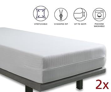Tural - Funda de colchón Extra elástica y Resistente. Cierre con Cremallera. Pack 2 uds. Talla 90x190/200cm: Amazon.es: Hogar