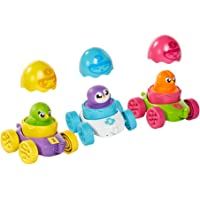TOMY Hide & Squeak Egg Racers Multi Pack–3 Cute Squeaking Egg Characters to Collect – Color Matching, Number Counting…