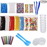 KIXNOR 30 Pack Slime Making Kit Supplies, Fishbowl Beads, Foam Balls, Glitter Shake Jars, Fruit Flower Candy Slice for Crunchy Slime, Slime Tools and spoons, Nail Art and Home Decor