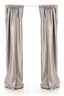 "product image for Glenna Jean Fly-by Drapery Panels, Grey Velvet, 90"" x 40"""