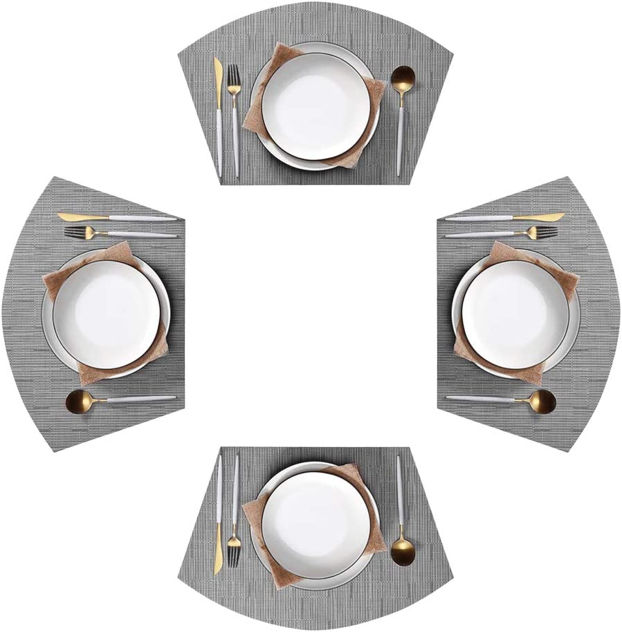 Amazon Com Jutao Round Table Placemats Set Of 4 Wedge Washable Table Mats For Kitchen Table Round Table Silver 4 Pcs Home Kitchen