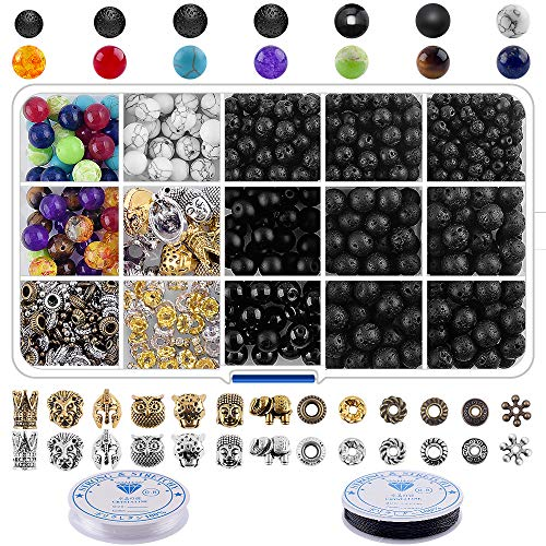 Lava Rock Stone Beads Kit - 600Pcs Volcanic Lava Rock Beads Bulk Chakra Beads and Spacer Beads with Crystal String for Essential Oil Diffuse Bracelets DIY Jewelry Making Supplies (4mm 6mm 8mm)