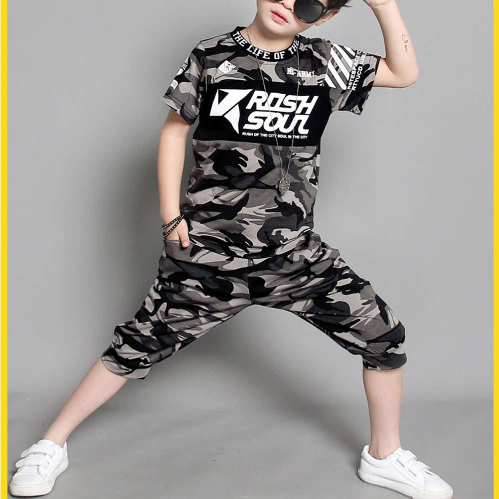 Runyue T-Shirt Mimetico e Pantaloncini Completo 2 Pezzi Estate da Bambini e Ragazzi