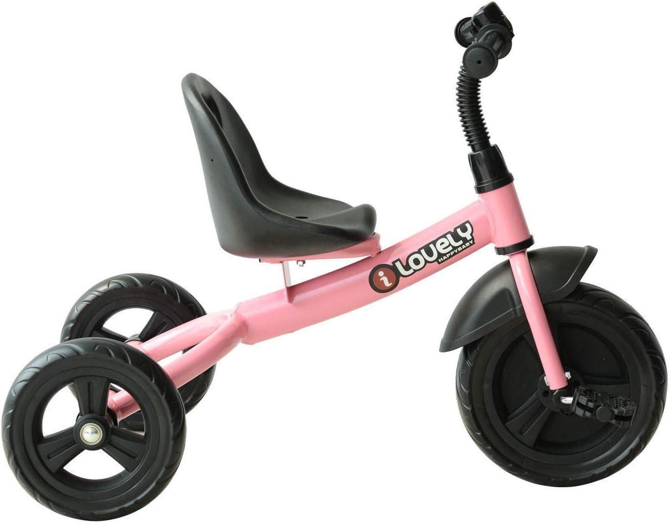Yuldek – Bicicleta de triciclo para bebés y niños pequeños con 3 ruedas, bicicleta de triciclo para niños pequeños con mango grueso y campana – para niños de 18 meses y más