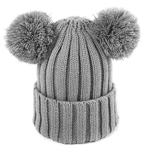 MIOIM Kid Baby Boys Girls Winter Warm Hat Knitted Double Pompom Ball Beanie Ski Cap
