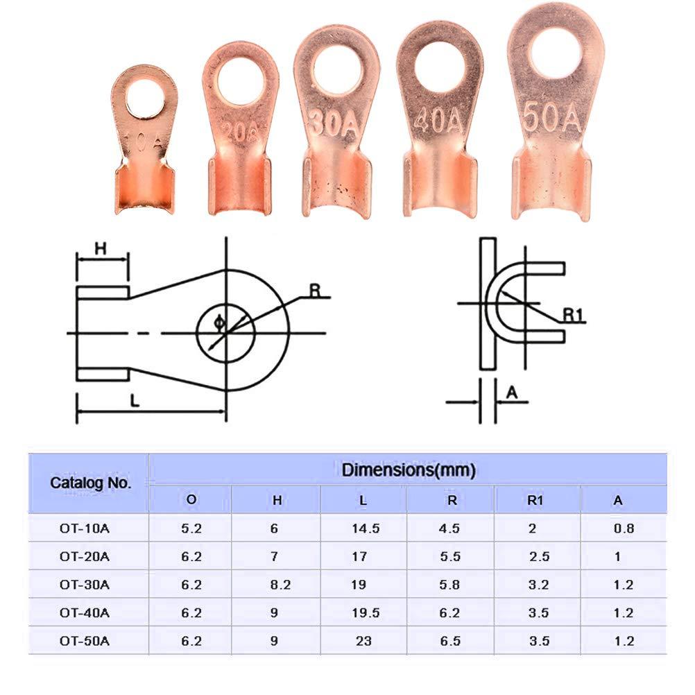 ARTGEAR Open Barrel Wire Crimp Connector Copper Ring Lug Terminals Assortment Kit OT 10A 20A 30A 40A 50A Pack of 72