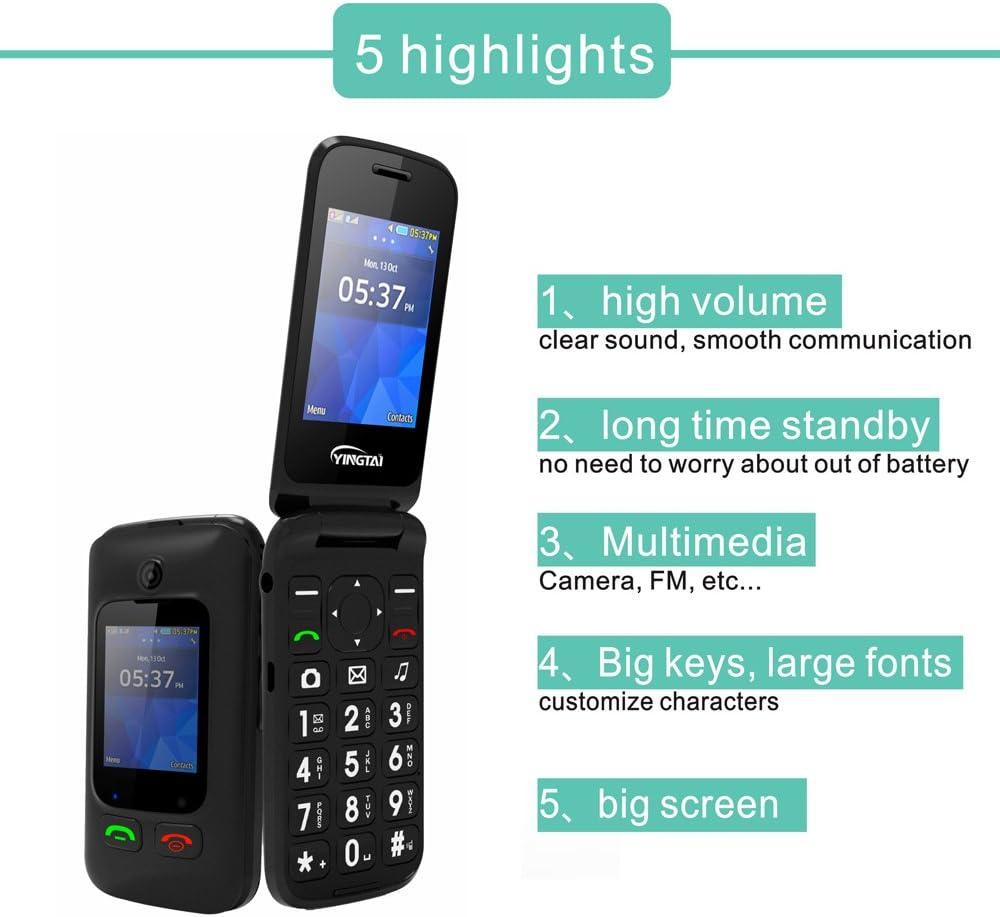 Tel/éfono M/óvil para Personas Mayores Teclas Grandes con Tapa de Emergencia Bot/ón SOS F/ácil de Usar para Ancianos by T46 3G