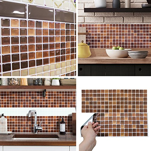 BEAUSTILE Decorative Tile Stickers Peel Stick Backsplash Fire Retardant Tile Sheet (2, - Bathroom Decorative Tiles