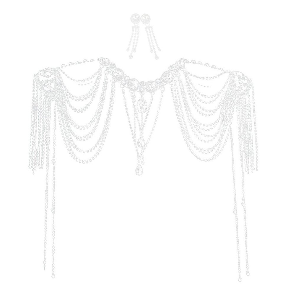 Tinksky Wedding Bride Crystal Diamante Choker Necklace Shoulder Chain Bridal Jewelry Wedding Jewelry Sets by TinkSky