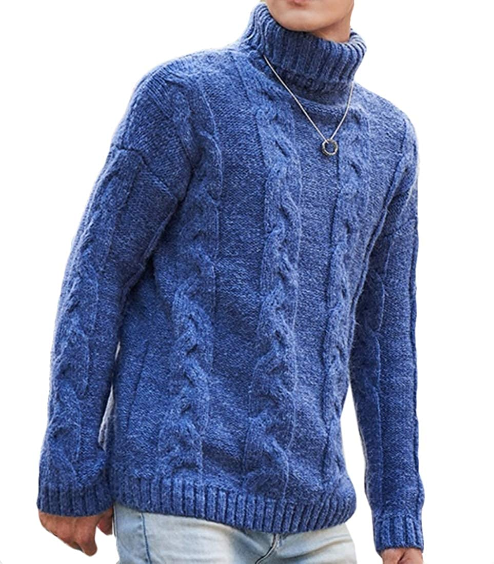 XQS Mens Casual Turtleneck Slim Fit Pullover Knitted Tops Sweaters