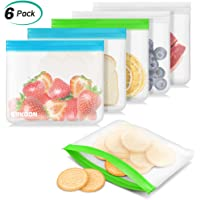 ERKOON Pack of 6 Leakproof Reusable Food Storage Bags Sandwich Bags Reusable Ziplock Bags Ideal for Lunch Sandwich, Food Snacks, Fruits, Travel Home Organization
