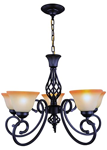 Yiweer 30 Inch Traditional 5 Light Chandelier,Antique Black Hanging Light,Shades Glass,Adjustable Direction,Warm Color 5-Light Chandelier