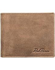 Red Baron Herren Geldbeutel aus echtem Leder mit Münzfach im Querformat Braun - Männer Geldbörse Portemonnaie Used Look Vintage - Brieftasche mit Fach für Einkaufswagenchip RB-WT-004-05