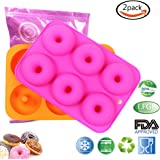 LoveS (2pcs) 6-Cavity Silicone Donut Baking Pan/Non-Stick Donut Mold, Dishwasher, Oven, Microwave, Freezer Safe