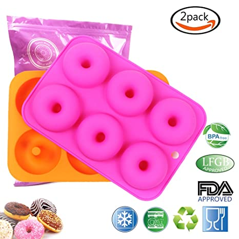 2 Piezas)Moldes de Silicona Antiadherente Moldes Para Donuts Rosquillas Dulce Buñuelos Molde de Reposteria