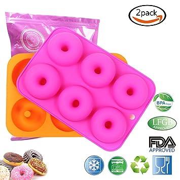 2 Piezas)Moldes de Silicona Antiadherente Moldes Para Donuts Rosquillas Dulce Buñuelos Molde de Reposteria Molde de Horno Para Tarta Magdalenas, ...