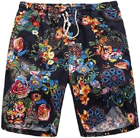dbe1cdf6162ac Coolred-Men Casual Cotton Linen Beach Oversize Printing Sport Shorts Pants