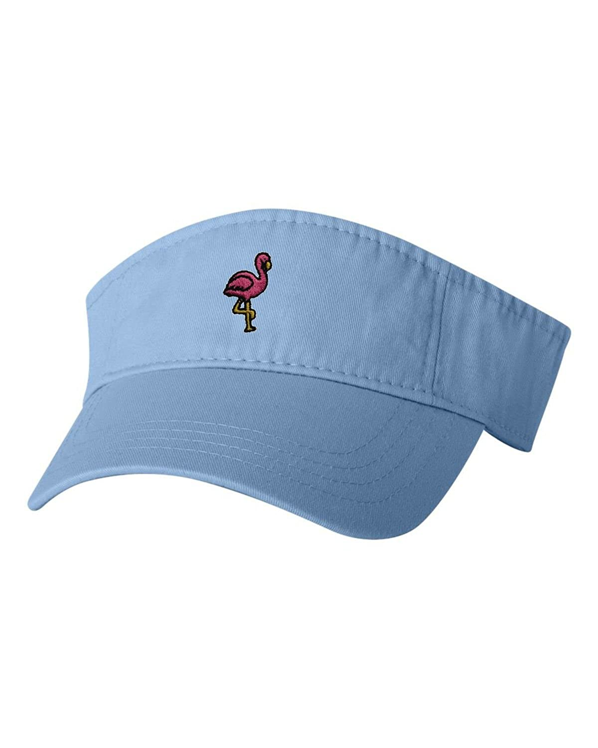 f8725208f1f Amazon.com  Adjustable Baby Blue Adult Flamingo Embroidered Visor Dad Hat   Clothing