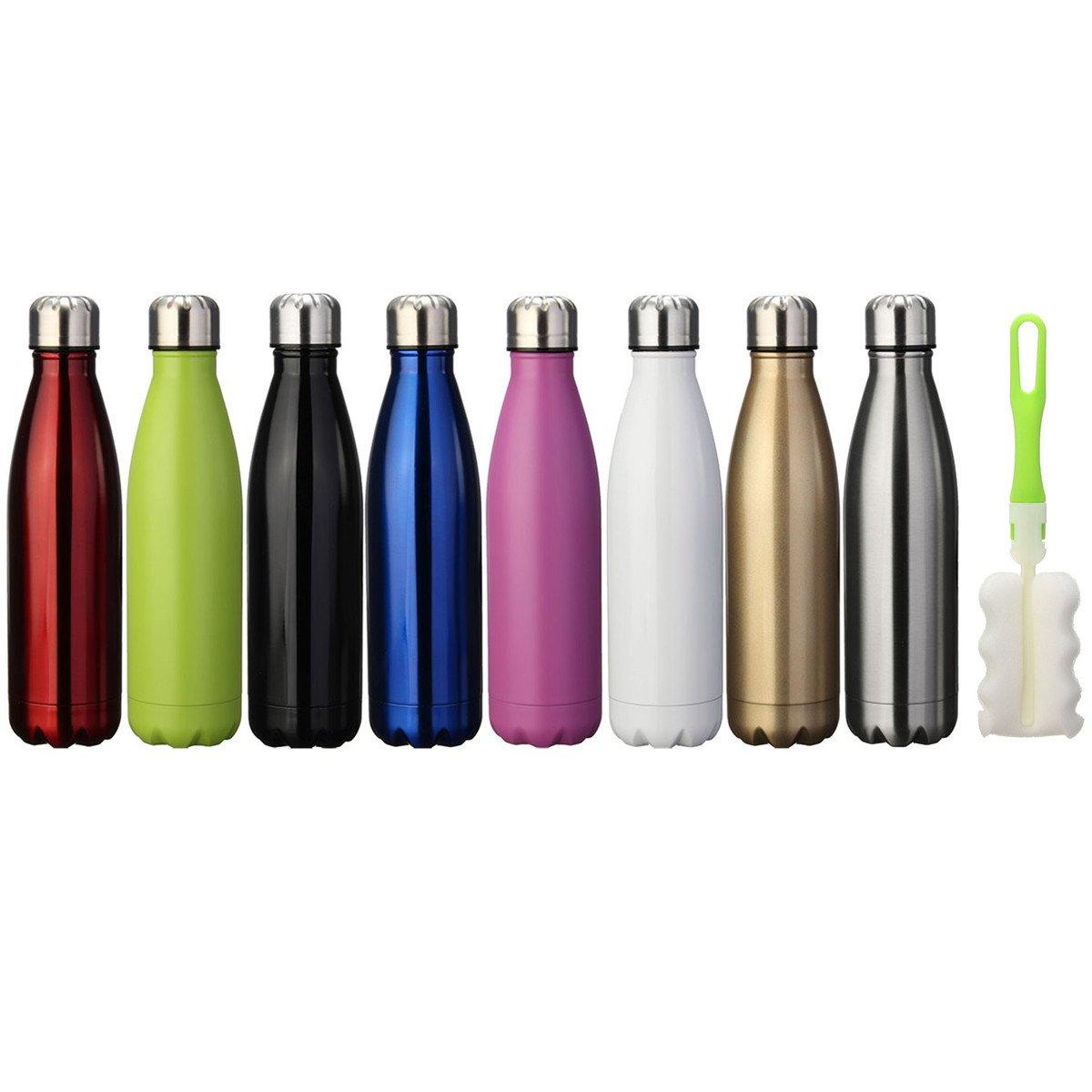 KING DO WAY Portatile Borraccia in Acciaio Termica Bottiglia Sportive con Spazzola di Pulizia Verde 500ml
