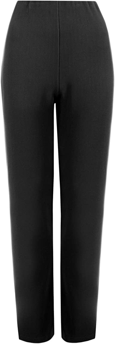 NEW LADIES PACK OF 2 STRAIGHT LEG STRETCH FINE RIBBED TROUSERS BLACK SIZE 8-26