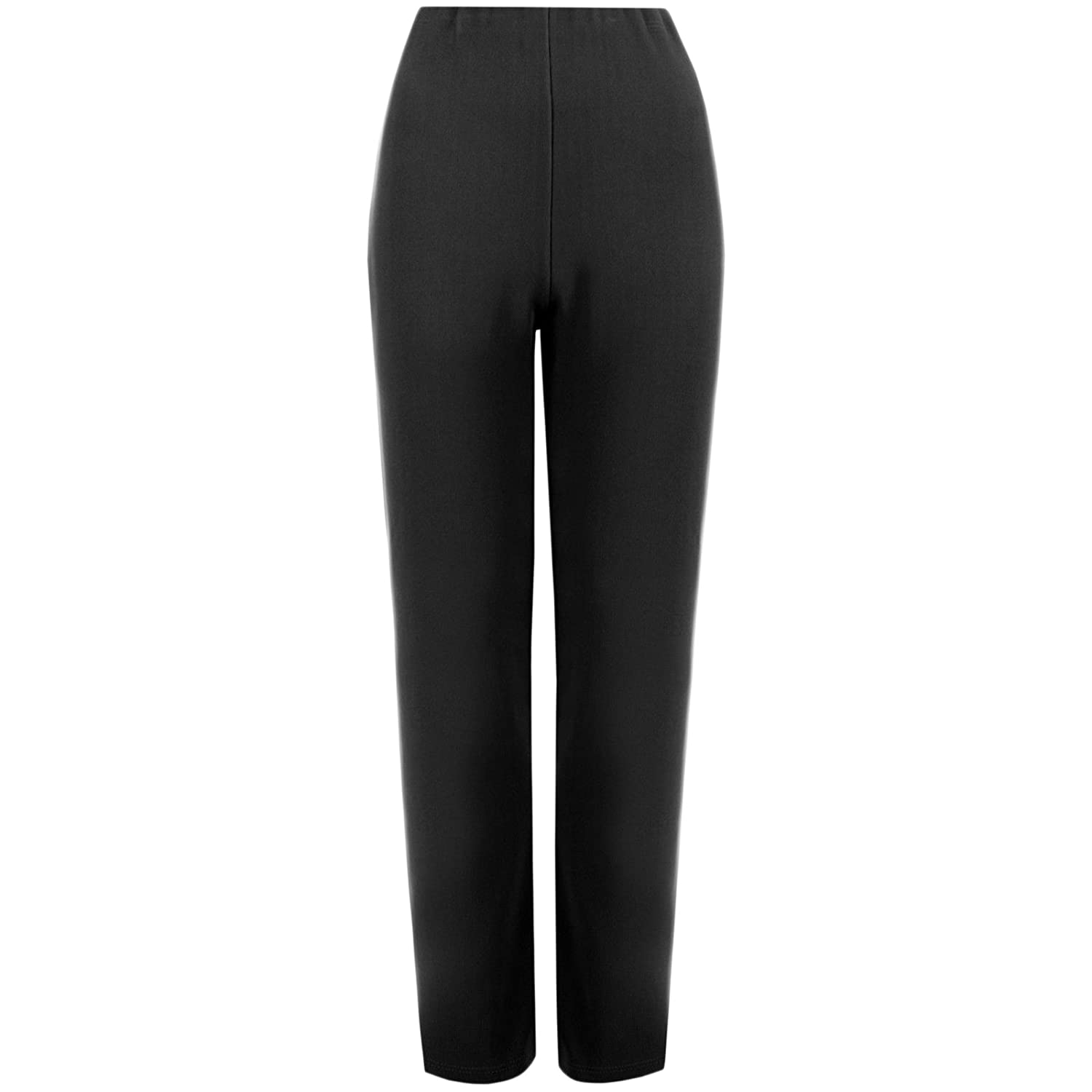 MyShoeStore Pack of 2 Ladies Womens Straight Leg Trousers Finely Soft Ribbed Stretch Pull on Pants Casual Full Elasticated Waist Bottoms Plus Sizes 8-24