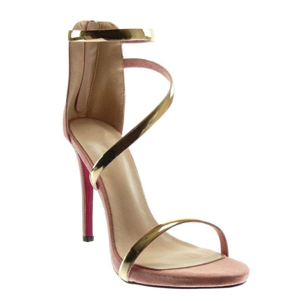 Angkorly Scarpe Moda Sandali Decollete con Tacco Stiletto con Cinturino alla Caviglia Donna Tanga d'oro Tacco Stiletto Alto 11 cm