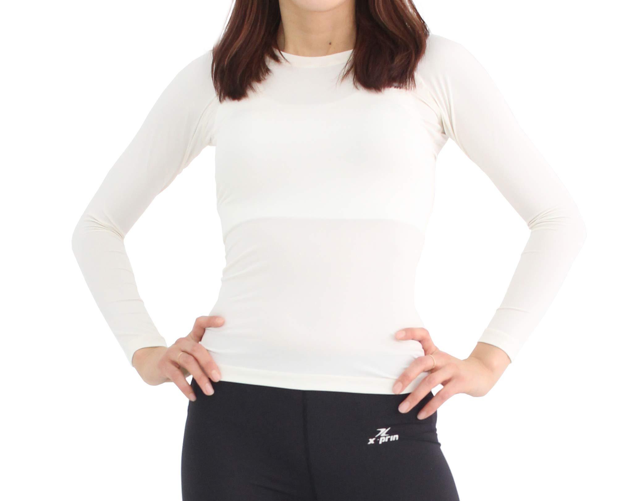 XPRIN A100 Series Women's Long Sleeve Cool Base Layer Compression Shirt Sports Wear (3XL, A102 White)