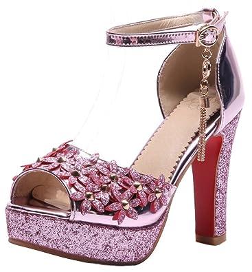 Easemax Damen Modisch Glitzer Peep Toe High Heels Stilettos Sandalen Rosa 38 EU xT9sB4Hl