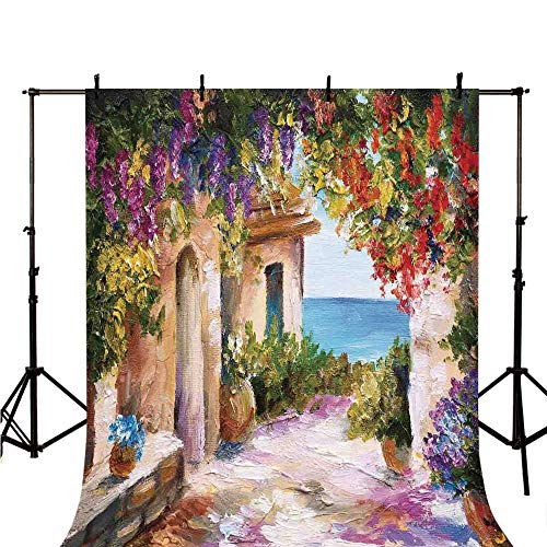 Landscape Stylish Backdrop,Old Ancient Village with Colorful Plants and Flower Gate Greek Houses Artwork for Photography,59