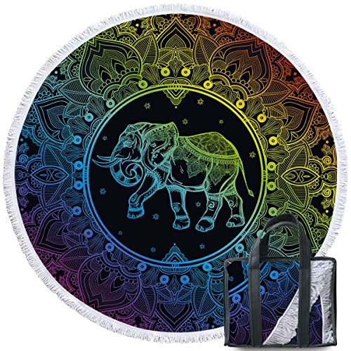Sleepwish Colorful Beach Towels Rainbow Round Beach Towel Large Beach Roundie Black Neon Towels Gypsy Round Yoga Mat with Tassel (60