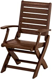 """37.25"""" Recycled Earth-Friendly Outdoor Folding Arm Chair - Mahogany"""