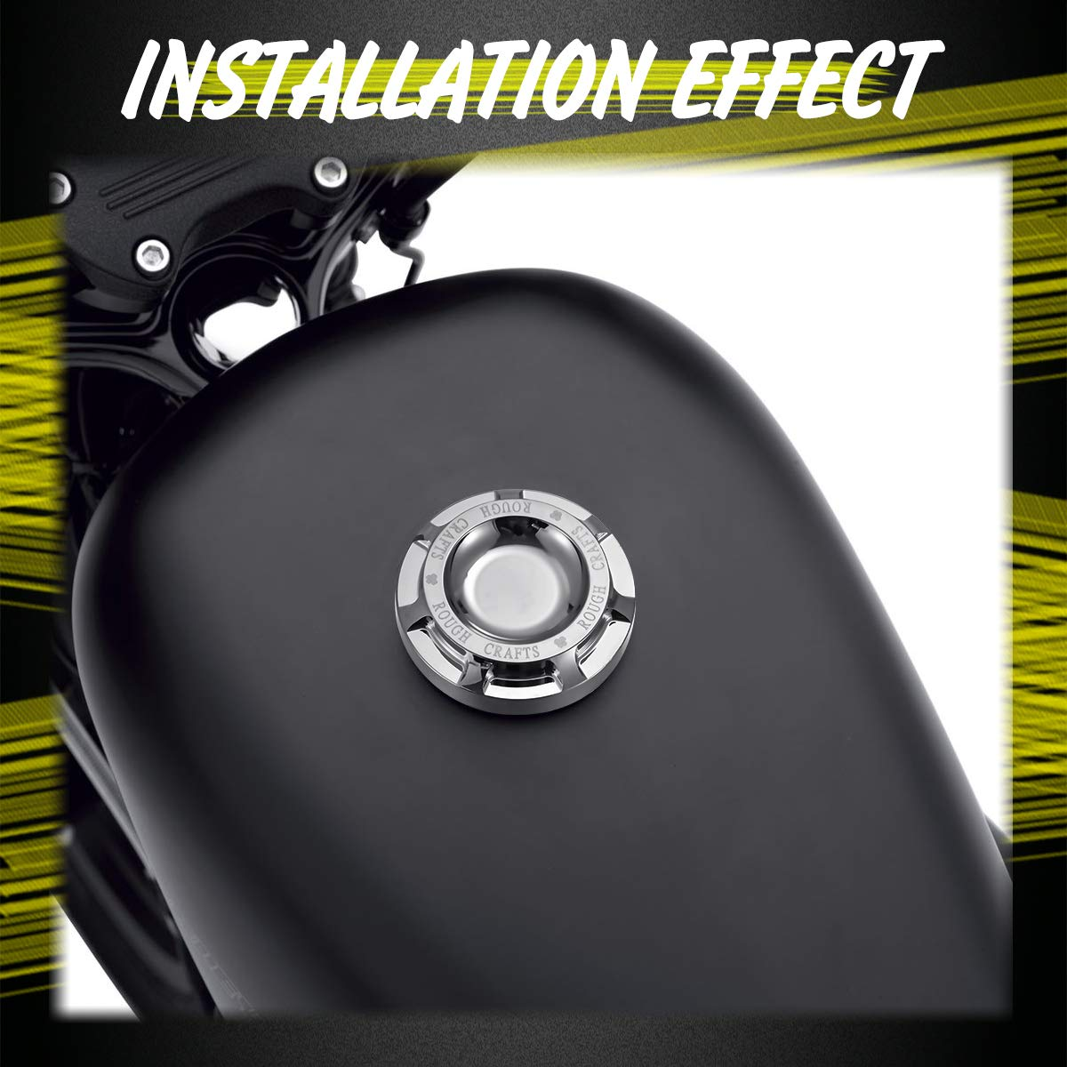 KATUR Cromo Negro Motocicleta CNC Aluminio Tanque de Aceite de Gas de Combustible Artesan/ías en Bruto Cubierta de Aceite Decorativa Tapa de Gas para Harley Sportster XL1200 883 1996-2014
