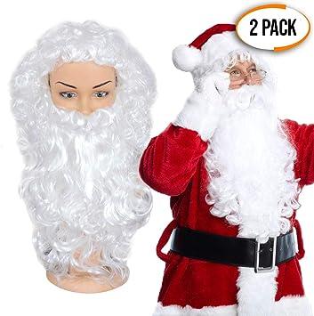 THE TWIDDLERS Paquete de 2 Barbas y 2 Pelucas Papa Noel Traje ...