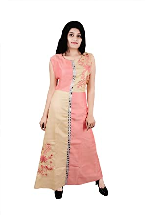 5d3f7d9c6133 Dream Wears Chikan Embroidery, Solid Women's Gown Kurta: Amazon.in:  Clothing & Accessories