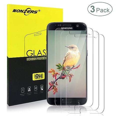 3-Unidades Cristal Templado para Samsung Galaxy S7,Protector de Pantalla con 9H Dureza,Resistente a Araaozos y Golpes,Completa Vidrio Templado para ...