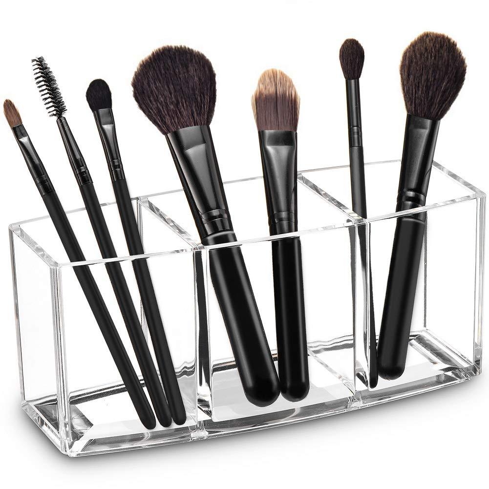 YANROO Organizador de Soporte para brochas de Maquillaje con Tapa Almacenamiento de cepillos cosm/éticos Contians Pearl Blanco
