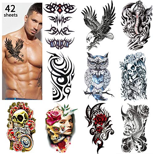 42 Sheets Temporary Tattoos Stickers (Include 10 Sheets Large Stickers), Fake Body Arm Chest Shoulder Tattoos for Men and Women (Best Shoulder Tattoos For Men)