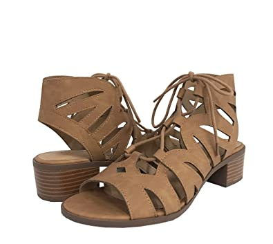 19b615a08da5 Image Unavailable. Image not available for. Color  City Classified Dalles! Women s  Open Toe Cutout Lace up Stacked Heel Sandals ...