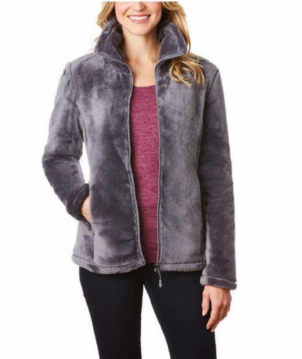 32 DEGREES Women's Plush Faux Fur Full Zip Jacket (Shadow, Large)