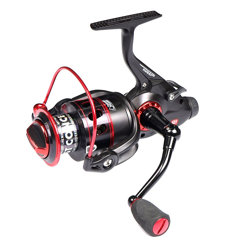 LONPAR Tideep Baitrunner Spinning Fishing Reel 8BB 1RB Front and Rear Double Drag System Two Spools Included Saltwater or Freshwater