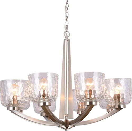 Alice House 29.5 8-Light Large Chandeliers for Dining Room, 72 Chain, Brushed Nickel Finish, Kitchen Light Fixtures with Clear Hammered Glasses, Modern Farmhouse Chandelier AL6091-H8