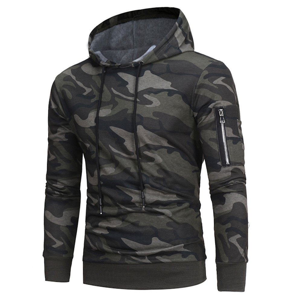 kingf Mens Fleece Camouflage Hoodies Hooded Top Zipper Jacket Sweatshirts