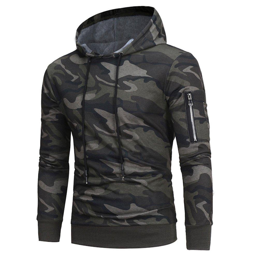 Farjing Hoodie for Men,Clearance Sale Mens' Long Sleeve Camouflage Hoodie Sweatshirt Jacket Coat Outwear Tops(2XL,Camouflage