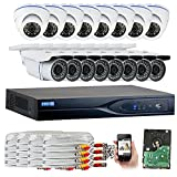 Cheap GW Security 1080P HD 16 Channel Video Security System – 16 x 2.1 MP Weatherproof IP66 Bullet & Dome Cameras, Pre-Installed 4TB HD for 180 Hours 16Ch Recording HD 1080P, Quick QR Code Smartphone Access