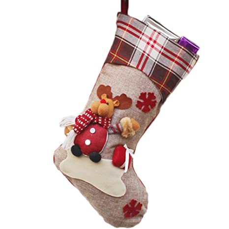 Dosige 1pcs Medias de Navidad Calcetines de Navidad Chimenea para el regalo del bolso de azúcar