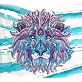 Exclusive- Indian Rasta Lion Tapestry, Mandala Tapestries Wall Hanging, Bohemian Dorm Decor Tapestry, Queen Bedspread, Beach Blanket, Cotton Bed Cover