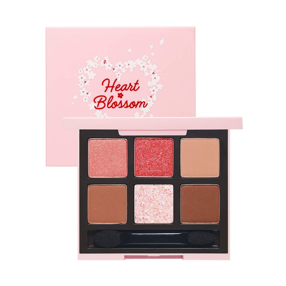 ETUDE HOUSE Play Color Eyes [Heart Blossom] (#3 Pink Blossom) | Multicolor Small Palette with Glitter Shimmer Matte for Perfect Eyemakeup with Jelly Texture