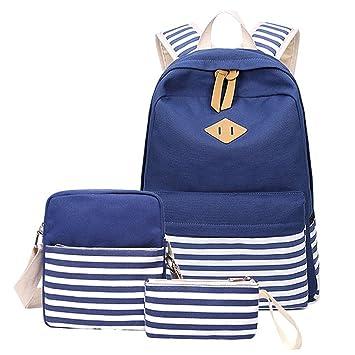 Backpack Mochilas Escolares Mujer Mochila Escolar Lona Bolsa Vendimia Casual Colegio Para Chicas Backpack 3Pcs Azul oscuro: Amazon.es: Equipaje