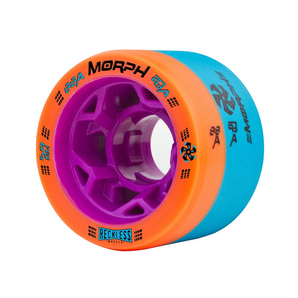 Reckless Radar Wheels - Morph - 4 Pack of 38mm x 59mm Dual-Hardness Roller Skate Wheels | 88A/93A | Orange/Blue by Reckless