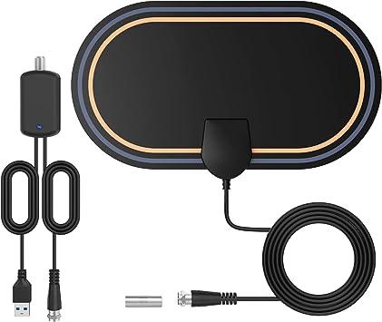 Antena TV Interior-Bqeel Antena TV TNT con 4 m Cable coaxial HDTV Digital con Amplificador de Señal Inteligente, Soporte 4K 1080p para Todos los Antiguos TV: Amazon.es: Electrónica